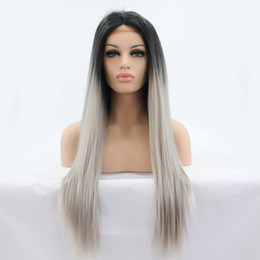 $enCountryForm.capitalKeyWord Australia - 16-26 Inch Long Silky Straight Black Roots Ombre Grey Synthetic Lace Front Wig High Temperture Fiber For Black Women Free Shipping