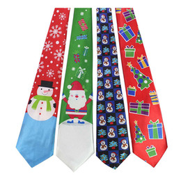 Xmas ties online shopping - Christmas Neck Tie fashion Santa Claus snowman print Party dress up Tie colors Xmas Ties C5015