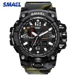 Men S Sport Clock Canada - SMAEL Men Camo Color Sport Watch 1545 S Style Male Quartz Clock Men's LED Digital Wristwatches erkek kol saati