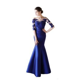 Size 22w Royal Blue Evening Gown UK - New Half Sleeves Satin Mermaid Evening Dresses with Lace Appliques 2019 Sheer Neck Long Evening Gowns Button Back Prom Dresses Royal Blue