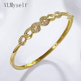 New fashion CZ bangle white Gold color with clear tiny cubic zirconia pulseira feminina Elegant jewelry bracelets bangles on Sale