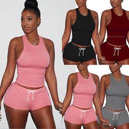 Vente en gros-New Fashion Femmes Slim Loose Outfit Crop Top sans manches + pantalon court Casual 2pcs vêtements ensemble en Solde