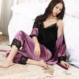 dc02f48f39 2017 Winter Autumn Women Pajamas Of 3 Piece Set Sexy Elegant Bathrobe  Pleuche Lace Sleepwear Ladies Soft Homewear High Quality Woman Clothes sexy  elegant ...