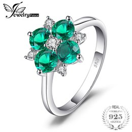 China JewelryPalace 1.4ct Round Cut Created Nano Russian Emerald Lucky Clover Flower Rings For Women 925 Sterling Silver Fine Jewelry supplier lucky rings silver 925 suppliers