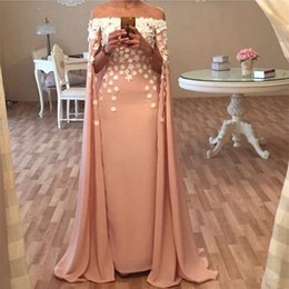 Discount art boat - 2019 Arabic Dubai Kaftan cape boat neck Prom Dresses Handmade Flowers Off Shoulder Formal Celebrity Evening Gowns With W