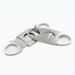 Cutter Color Australia - Stainless steel double blades cigar cutter all metal silver color cigar scissors cigar accessories free shipping W8139