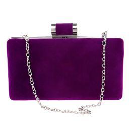 $enCountryForm.capitalKeyWord Canada - Elegant Purple Blue Velvet Hard Case Box Clutch Evening Party Bags and Clutch Purses Luxury Chain Handbags with Shoulder Red