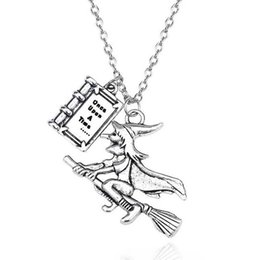 "fairy tale pendants wholesale NZ - wholesale 10pcs lot Fairy Tale Book Necklaces&Pendants Lettering""Once Upon A Time ""Charms Pendant Witch Riding A Broom Necklace"