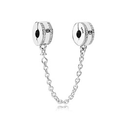 Wholesale Fashion Women 925 Sterling Silver Clear CZ Safety Chain Clip fit Pandora Charms Bracelet DIY Jewelry Making