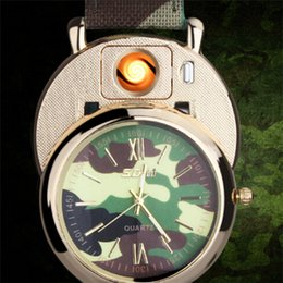 Wholesale 2018 Luxury watch camo Lighter Watch Lighter In Rechargeable Electronic Lighter USB Charge Flameless Cigar Wrist