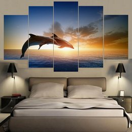$enCountryForm.capitalKeyWord Canada - HD Printed Canvas Home Wall Art Decor 5 Pieces Jumping Dolphins Animal Painting Sunset Seascape Poster Modular Pictures Frame