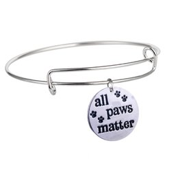 wholesale dog lover gifts NZ - 8 PC Lot All Paws Matter Dog Cat Print Charm Bangle Pet Rescue Adjustable Bangle Jewelry Women Animal Lovers Friends Gift