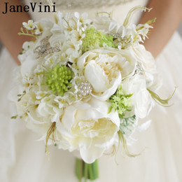$enCountryForm.capitalKeyWord Canada - JaneVini Artificial Ivory White Rose Peony Bridal Wedding Flowers Brooch Bouquet For Bride Butterfly Rhinestone Pearls Bridal Bouquets 2018