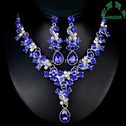 $enCountryForm.capitalKeyWord Australia - Bridal Gift Wedding Luxury Zircon Jewelry Set Woman fashion Royal Blue Clear Red Crystal Drop Necklace Earrings Jewelry Set