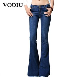 83b3c90e5b1 Women Jeans Middle Waist Plue Size Slim Elastic Flares For Ladies Female  Pure Color Casual Wide Leg Pants Summer Women Jeans