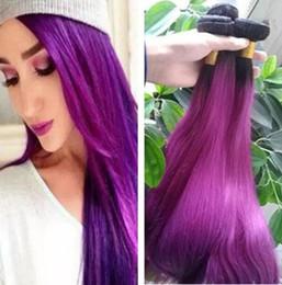 brazilian virgin hair ombre purple 2019 - T1B Purple Straight Ombre Human Hair Wefts Two Tone Ombre Brazilian Virgin Hair Weaves Ombre Hair Bundles cheap brazilia