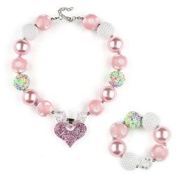 Bubblegum Charms NZ - Pink Chunky Necklace Bracelet Jewelry Sets DIY Kids Bubblegum Heart Charms Acrylic Bead Necklace Pendants for Girls Toddler Wholesale