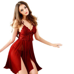 Red Dresses Black Tights Australia - Sexy Women Lingerie Lady Underwear Lace Night Dress White Babydoll Sleepwear with G-string Sleeping Wear Lack Tight Bow Hot S923