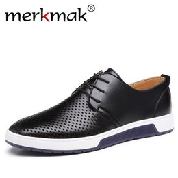 Men's Breathable Summer Shoes Australia - New 2018 Men Casual Shoes Leather Summer Breathable Holes Luxury Brand Flat Shoes for Men Drop Shipping