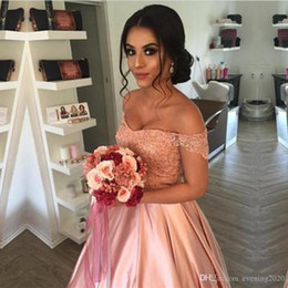mop ball NZ - Selling Temperament Noble Quinceanera Dresses Elegant Lace Off Shoulder Pink Satin Ball Prom Gowns Mopping Long Section dresses evening wear