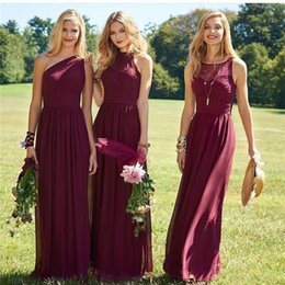 China Three Style Burgundy Bridesmaid Dresses 2017 A Line Floor Length Mixed Styles Wedding Party Dresses Cheap Boho Maid of Honor Gowns suppliers