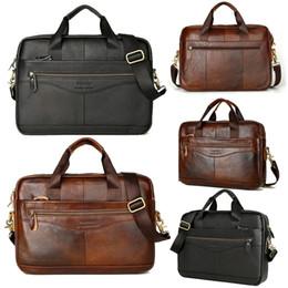 Discount men leather messenger bags black - Super Quality Men's Leather Messenger Shoulder Bags Business Work Briefcase Laptop Bag Handbag simple design X# dro