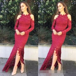 Hourglass dresses online shopping - Sexy Front Split Mermaid Prom Dresses Jewel long Sleeves Lace Dresses Applique Covered Button Formal Evening Dresses
