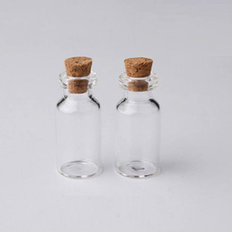 Cork sample bottle online shopping - 2ml Vials Clear Glass Bottles With Corks Mini Glass Bottle Wood Cap Empty Sample Jars Small x35x7mm HeightxDia Cute Craft Wish Bottles