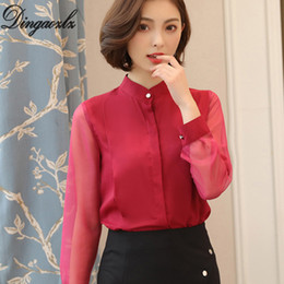2695ffbbda276 korean ol blouse 2019 - Dingaozlz OL shirt elegant female solid color long  sleeve chiffon blouse