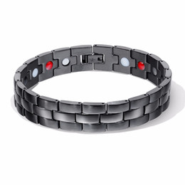 1a87f37cfb3f Bonita pulsera de poder de salud de calidad para hombres negro Ion negativo  infrarrojo lejano de titanio terapia magnética pulseras imán de joyería