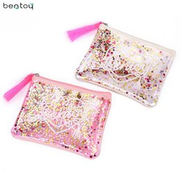 women summer clutch NZ - Bentoy Brand tassels women clutch bag summer jelly bag sequins purse pvc transparent envelope bag girls small pouch