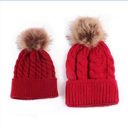 31a53abc671 Mother   Baby Clothes Set Mom Kids Warm Winter Knit Hat Beanie Fur Pom Hats  Crochet Ski Caps Baby Mom Brief Fashion Cap