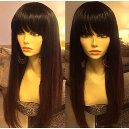 straight hair chinese bangs 2019 - Full Lace Human Hair Wigs With Bangs Straight Brazilian Remy Hair Glueless Full Lace Wig Pre Plucked And Bleached Knots