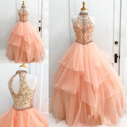 Chinese  Luxurious High Neck Ball Gown Quinceanera Dresses Tulle Sweet 16 Zipper Back Tulle Prom Dresses Party Gowns Special Occasion Dresses manufacturers