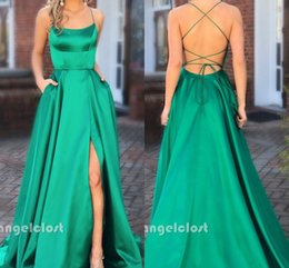 cheap emerald prom dresses 2018 - 2018 Emerald Green Prom Dresses Criss Cross Straps Backless Side Split Sweep Train Long Formal Party Evening Gowns Cheap