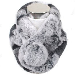 $enCountryForm.capitalKeyWord NZ - Valpeak Rabbit Fur Scarf For Women Winter 2018 Brand Luxury Knitted Female Real Fur Scarf Rex Collar Warm Neck Color Pompoms D18102406