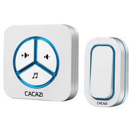Discount wholesale doorbell chime - CACAZI 9909 IP44 Waterproof Wireless Doorbell 280M remote 48 ringtones 6 volume door chime tamper-proof door ring 30set