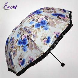 Raining paintings online shopping - Ink Peony Painted Three Folding Umbrella Sun parasol Anti UV Lotus Leaf Edge Umbrella Women s Windproof Outdoor Rain Gear
