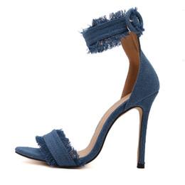 89803305704c9 Women Desinger Denim Canvas Sandals Stiletto High Thin Heel Shoes Woman  Ankle Strap Open Toe concise Simple Sandals Pumps 3491