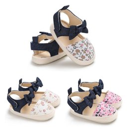 $enCountryForm.capitalKeyWord Australia - Toddler Baby Girl Shoes Bowknot Crib Shoes Newborn Prewalker Floral Non-slip Kids Soft Sole Sandals Baby Girls