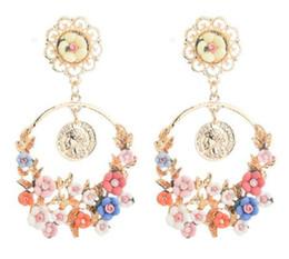 Resin Rose floweR eaRRings online shopping - New The new baroque brand of vintage fresh rose flower resin large ring earrings fashion designer earrings