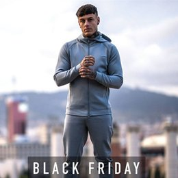 Body Fitness Suit Australia - Men Jogging Suit Running Gym Sportswear Tracksuits Fitness Body Building Mens Hoodies+Pants Sport Outwear Clothing Suit Male