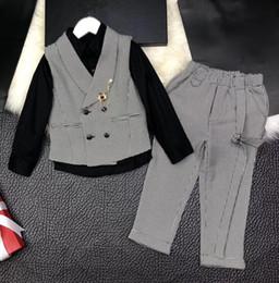 8eb1b49ce2 3 Peça Meninos Set 2018 primavera outono terno Roupas Mil linhas de aves  bonito Crianças Conjunto de Roupas preto mangas Compridas camisa + jaqueta  + calças
