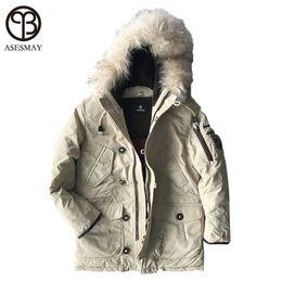 Military Parka Men Canada - Asesmay Luxury Brand Winter Men Down Jackets Goose Down Mens White Parkas With Fur Hood Men Deniem Russian Military Winter Coat