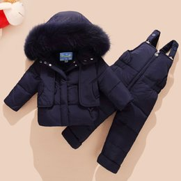 Wholesale 2018 Winter Children s Clothing Set Kids Ski Suit Overalls Baby Boys Down Coat Warm Snowsuits Jackets bib Pants set T
