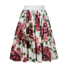 high rise skirts 2019 - 2018 High Quality Fashion Rose Print Skirts Women Female Sweet Above Knee Mini Cute Girl Floral Skirts cheap high rise s