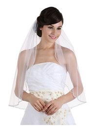 sequin yarn white Australia - 2018 Cheap White Ivory Tulle Single layer drilled Side Wedding Bridal Veil New Trailing Korean lace Short Veil With Beads