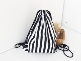 $enCountryForm.capitalKeyWord NZ - Drawstring backpack Bags for Girls Women Handmade Travel Canvas Shoes Bags Black White Striped Storage Bags Sports Shoulder bag