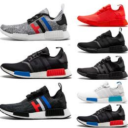 48663dad2 2019 NMD R1 running shoes Primeknit classic OG Triple black White red Men  Women beige Runner Sports sneakers Shoe EUR 36-45