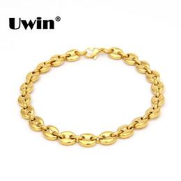 Pulseras de acero inoxidable Uwin de alta calidad chapado en PVD plata / color dorado 8 mm 22.5 cm Cable Link pulsera de cadena hombres regalo de la joyería en venta